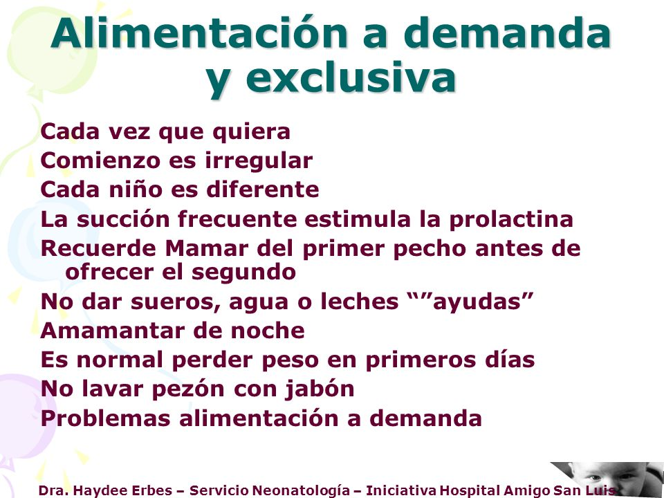 Alimentación a demanda y exclusiva