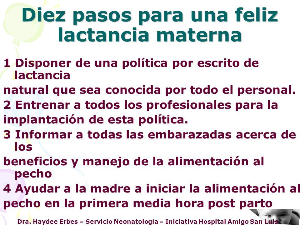 Diez pasos para una feliz lactancia materna