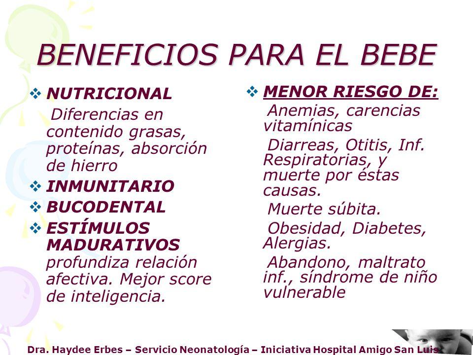 BENEFICIOS PARA EL BEBE