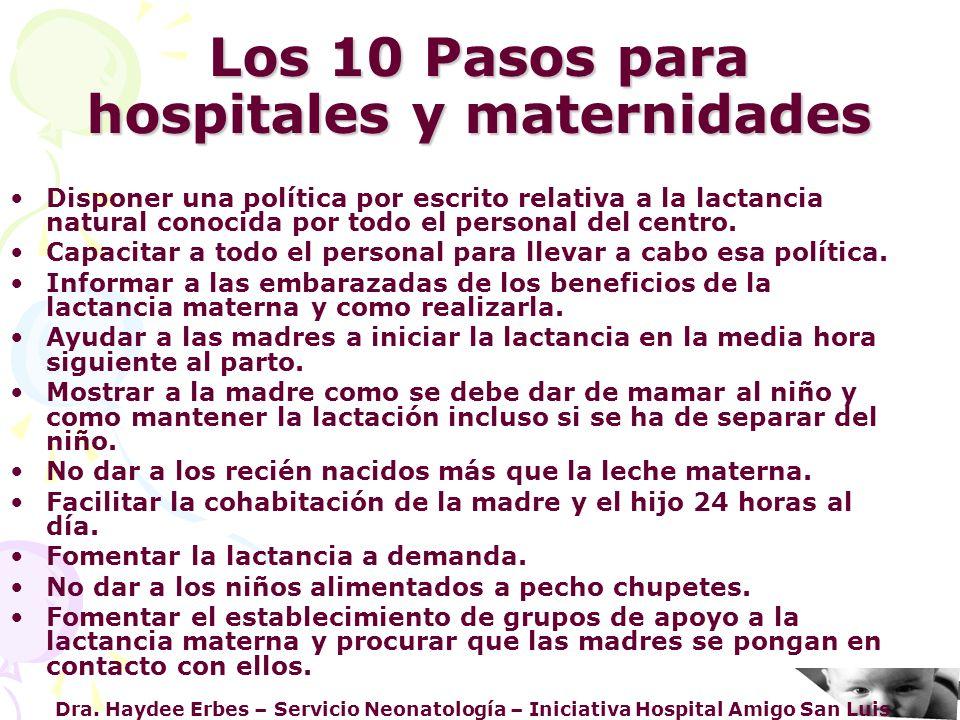 Los 10 Pasos para hospitales y maternidades
