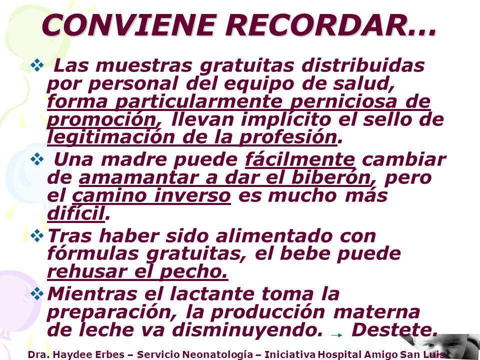 CONVIENE RECORDAR…