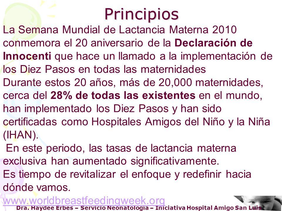La Semana Mundial de Lactancia Materna 2010 conmemora el 20 aniversario de la Declaración de Innocenti que hace un llamado a la implementación de los Diez Pasos en todas las maternidades