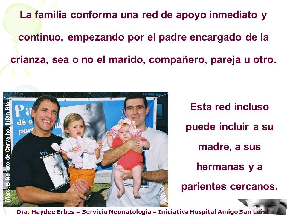 La familia conforma una red de apoyo inmediato y continuo, empezando por el padre encargado de la crianza, sea o no el marido, compañero, pareja u otro.