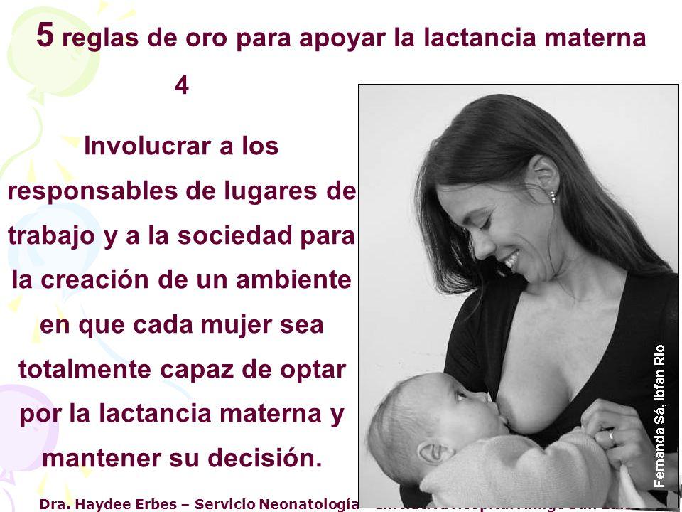 5 reglas de oro para apoyar la lactancia materna