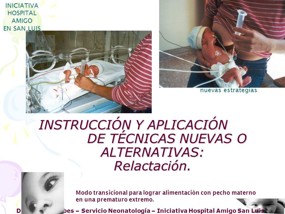 INICIATIVA HOSPITAL AMIGO. EN SAN LUIS. nuevas estrategias. INSTRUCCIÓN Y APLICACIÓN DE TÉCNICAS NUEVAS O ALTERNATIVAS: Relactación.