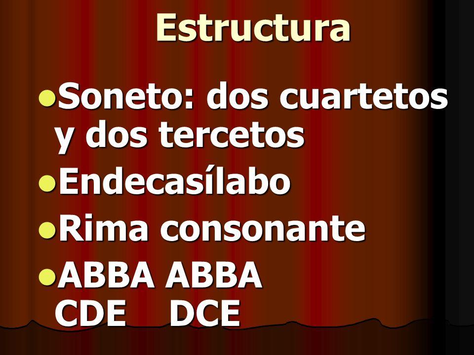 Estructura Soneto: dos cuartetos y dos tercetos Endecasílabo