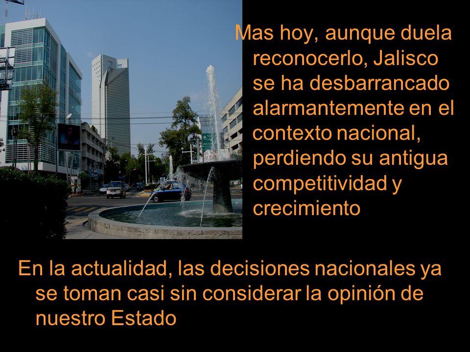 Mas hoy, aunque duela. reconocerlo, Jalisco. se ha desbarrancado