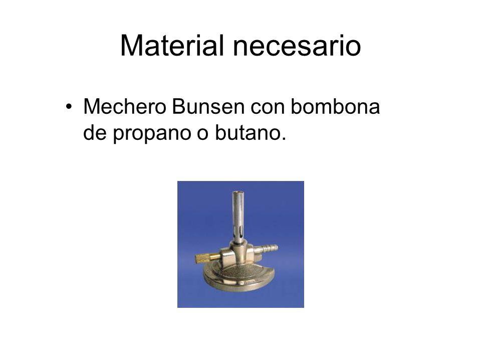 Material necesario Mechero Bunsen con bombona de propano o butano.