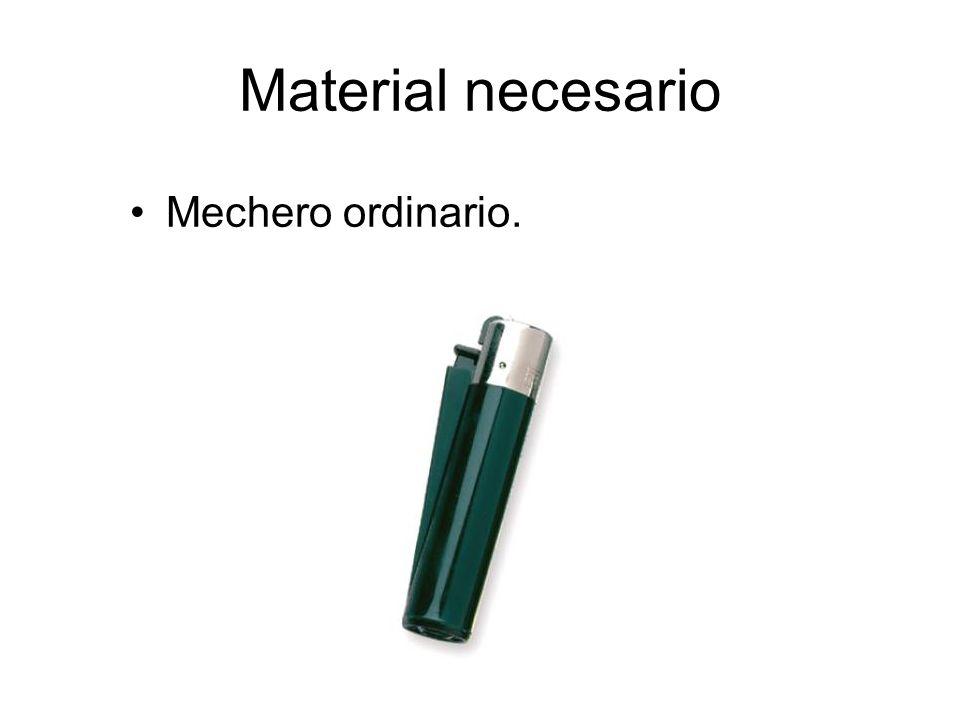 Material necesario Mechero ordinario.
