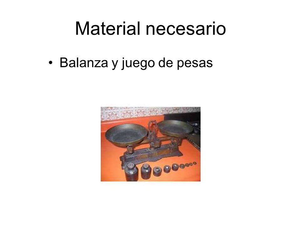 Material necesario Balanza y juego de pesas