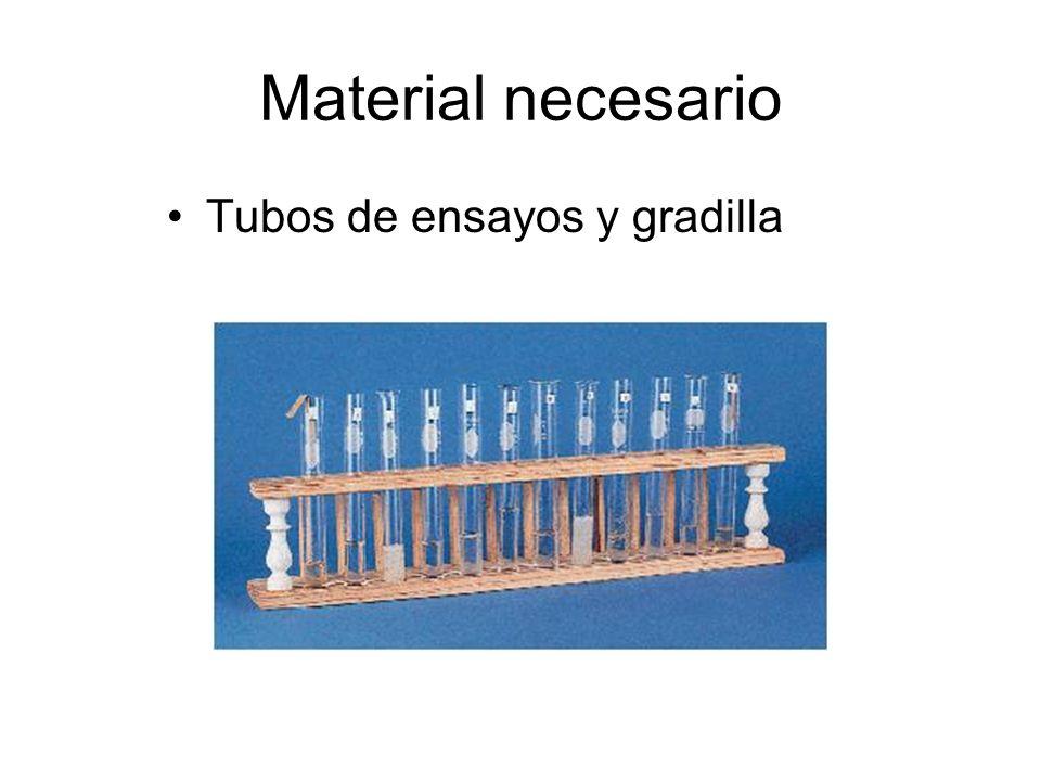 Material necesario Tubos de ensayos y gradilla