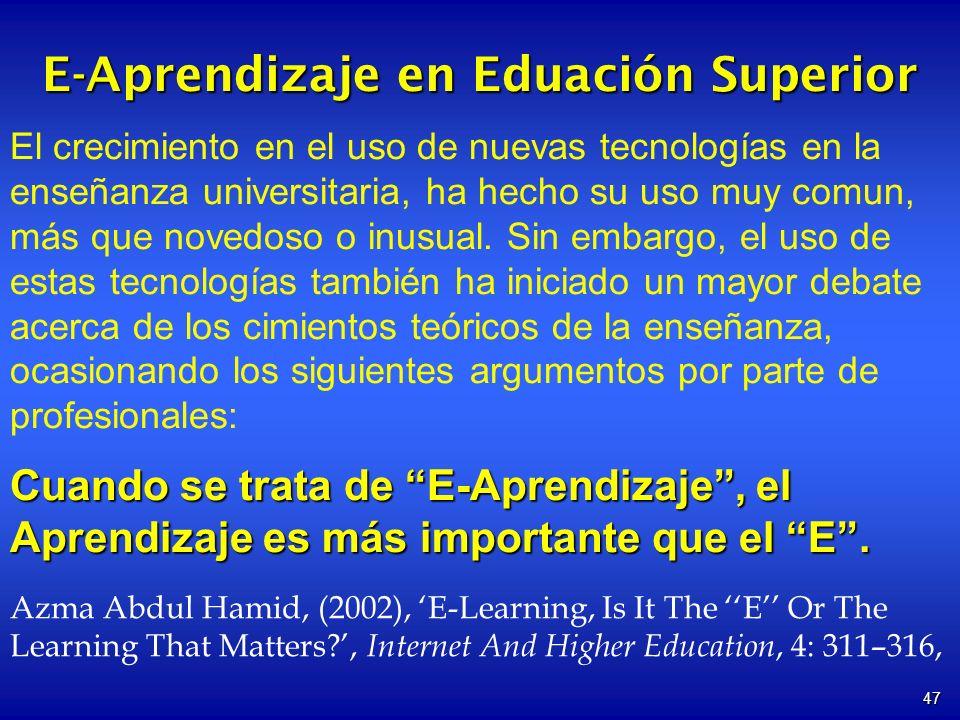 E-Aprendizaje en Eduación Superior