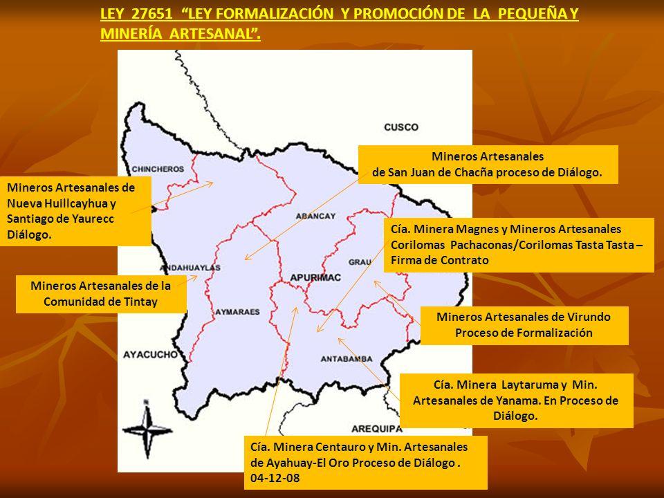 LEY 27651 LEY FORMALIZACIÓN Y PROMOCIÓN DE LA PEQUEÑA Y MINERÍA ARTESANAL .