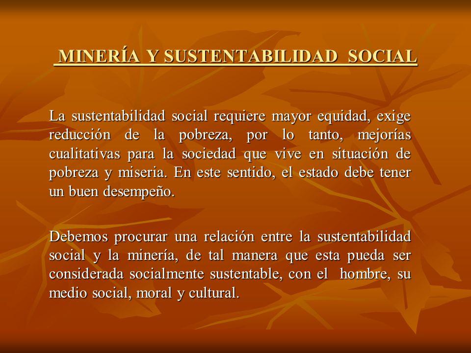 MINERÍA Y SUSTENTABILIDAD SOCIAL