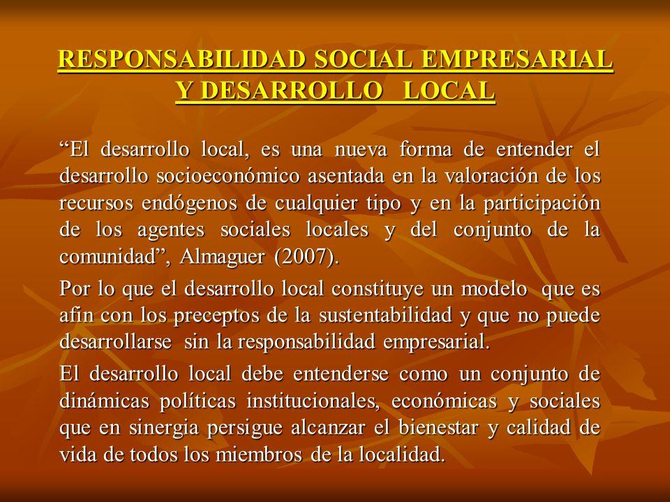 RESPONSABILIDAD SOCIAL EMPRESARIAL Y DESARROLLO LOCAL