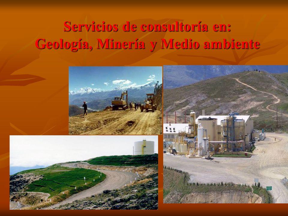 Servicios de consultoría en: Geología, Minería y Medio ambiente
