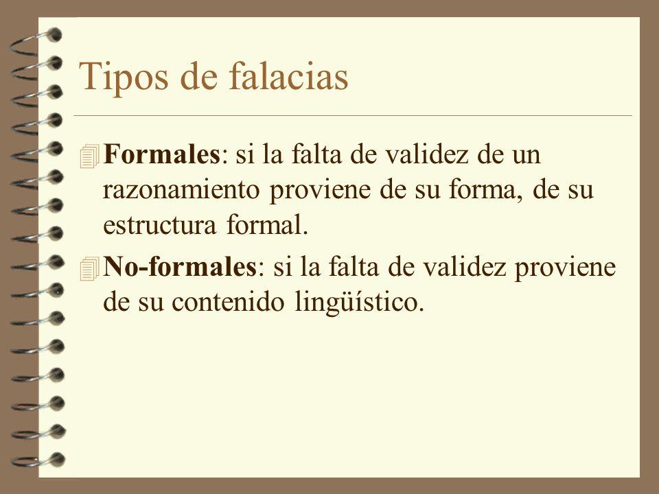 Tipos de falacias Formales: si la falta de validez de un razonamiento proviene de su forma, de su estructura formal.