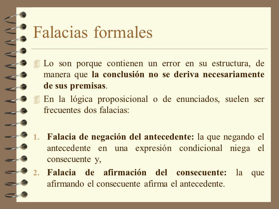 Falacias formales Lo son porque contienen un error en su estructura, de manera que la conclusión no se deriva necesariamente de sus premisas.