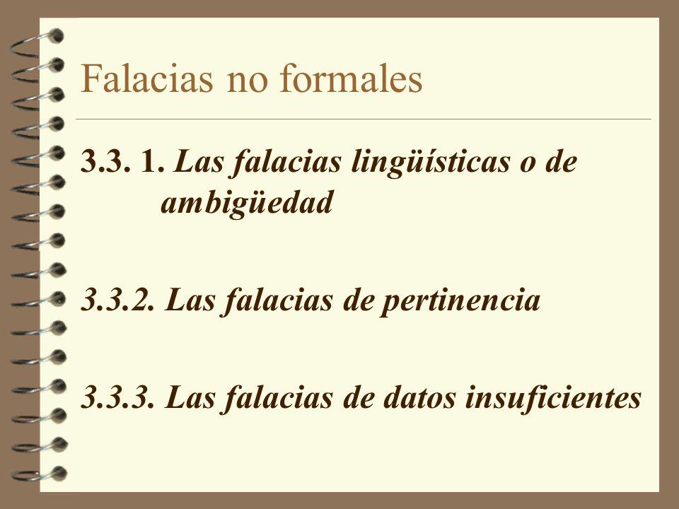 Falacias no formales 3.3. 1. Las falacias lingüísticas o de ambigüedad