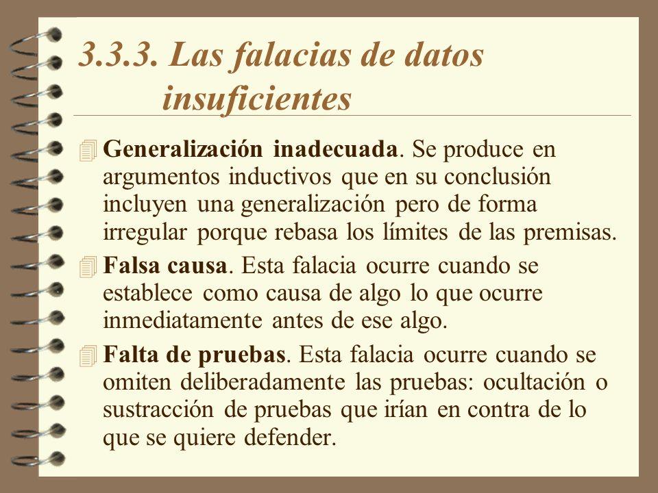 3.3.3. Las falacias de datos insuficientes