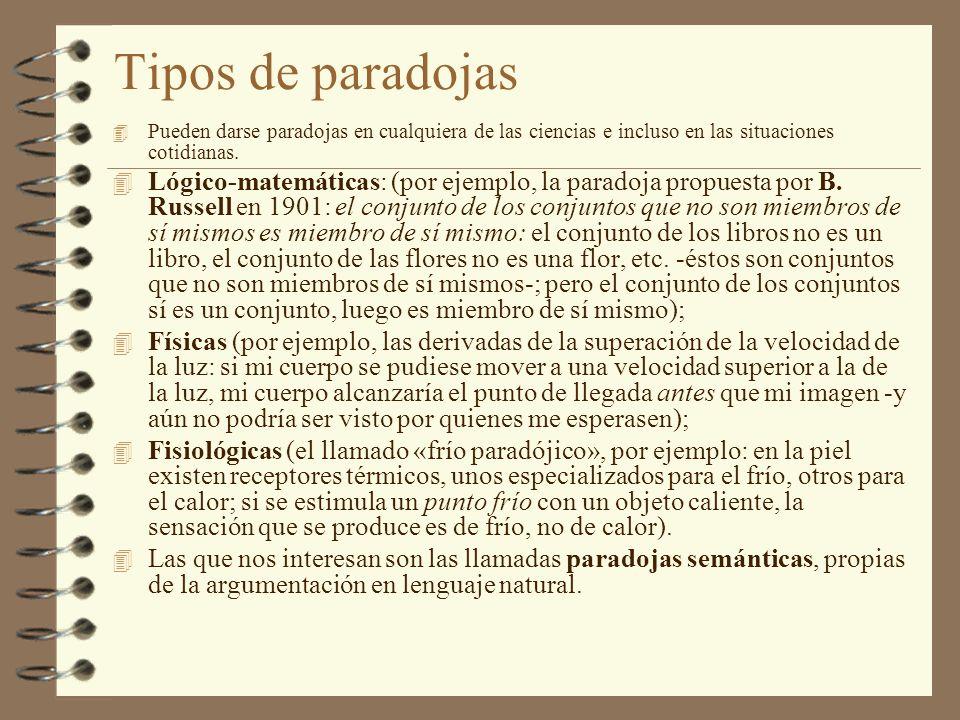 Tipos de paradojas Pueden darse paradojas en cualquiera de las ciencias e incluso en las situaciones cotidianas.