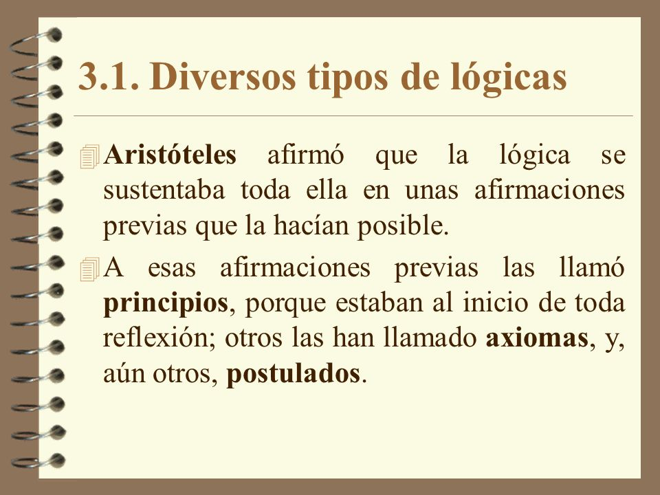 3.1. Diversos tipos de lógicas