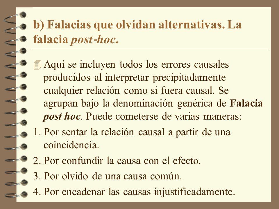 b) Falacias que olvidan alternativas. La falacia post‐hoc.