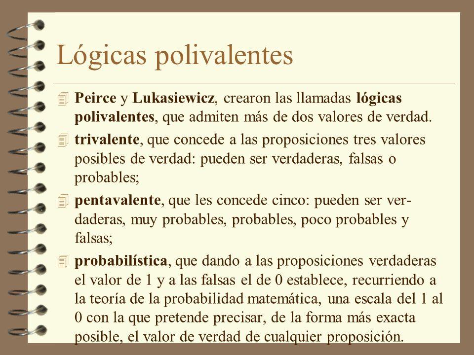 Lógicas polivalentes Peirce y Lukasiewicz, crearon las llamadas lógicas polivalentes, que admiten más de dos valores de verdad.