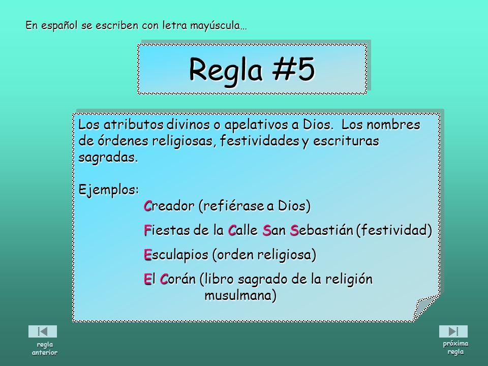 Regla #5 Los atributos divinos o apelativos a Dios. Los nombres
