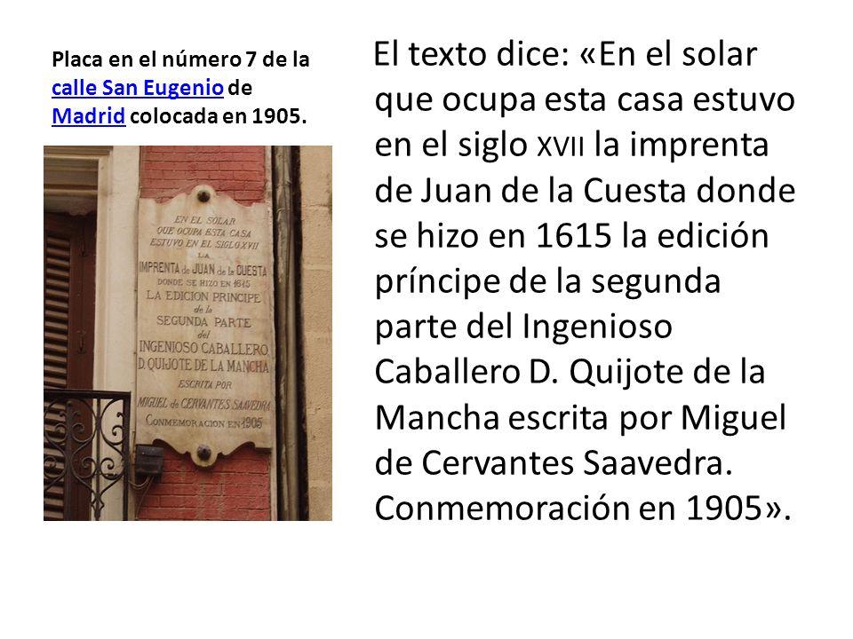 Placa en el número 7 de la calle San Eugenio de Madrid colocada en 1905.