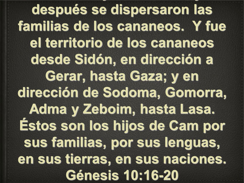 al jebuseo, al amorreo, al gergeseo, al heveo, al araceo, al sineo, al arvadeo, al zemareo y al hamateo; y después se dispersaron las familias de los cananeos.