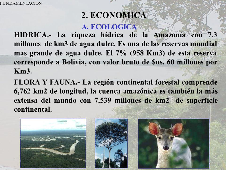 FUNDAMENTACIÓN 2. ECONOMICA. A. ECOLOGICA.