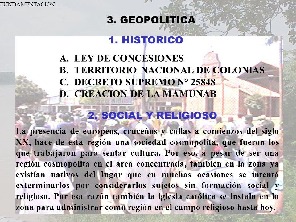 TERRITORIO NACIONAL DE COLONIAS DECRETO SUPREMO N° 25848