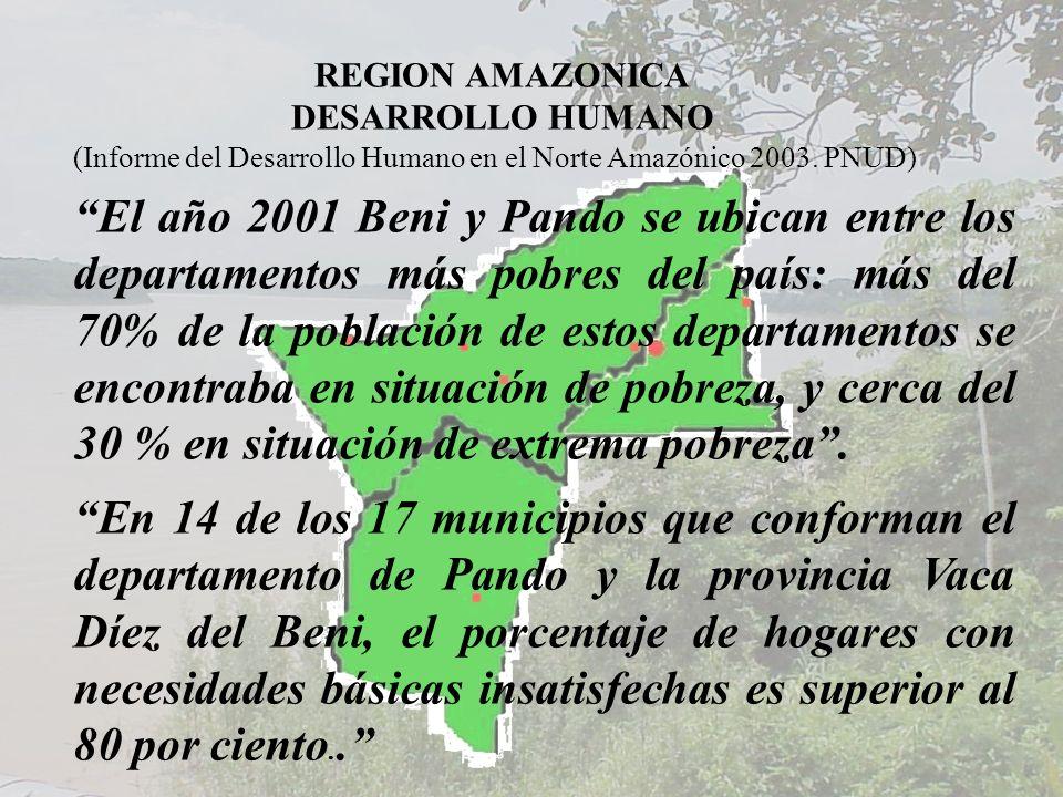 REGION AMAZONICA DESARROLLO HUMANO. (Informe del Desarrollo Humano en el Norte Amazónico 2003. PNUD)