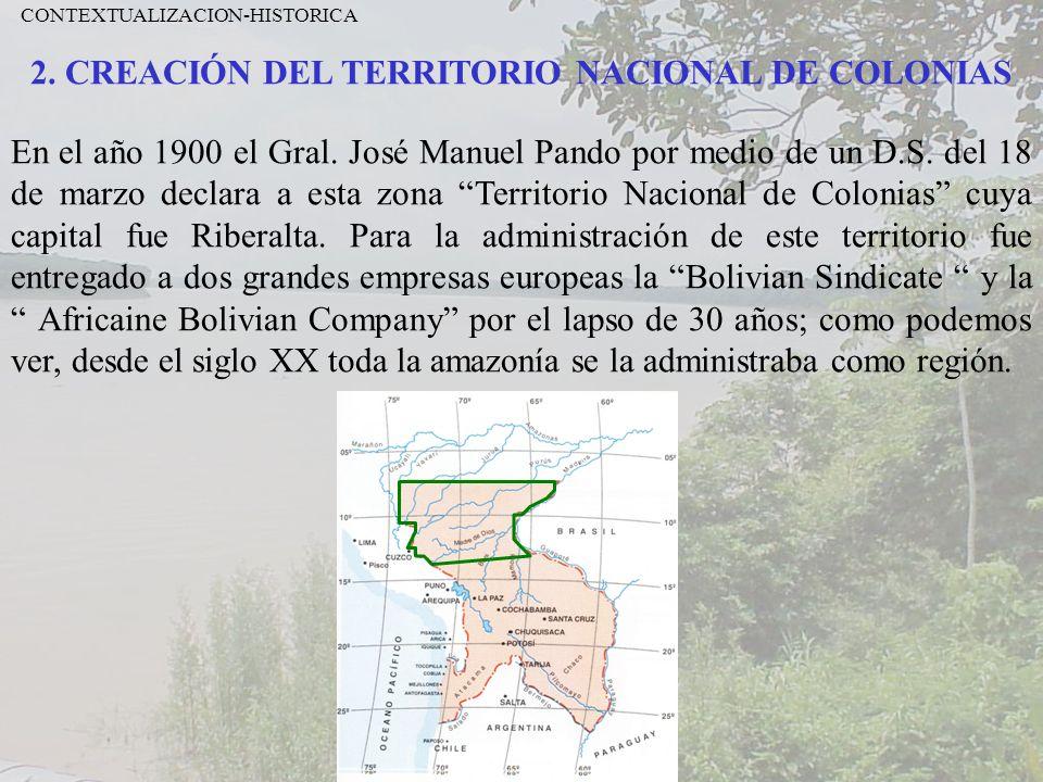 2. CREACIÓN DEL TERRITORIO NACIONAL DE COLONIAS