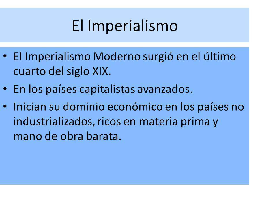 El Imperialismo El Imperialismo Moderno surgió en el último cuarto del siglo XIX. En los países capitalistas avanzados.