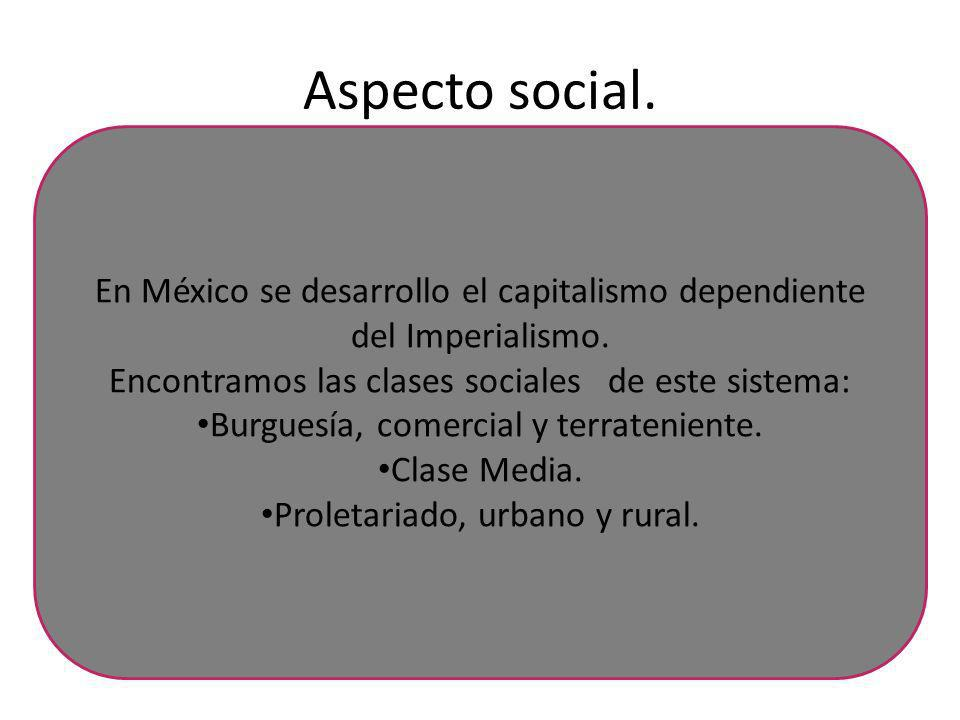 Aspecto social. En México se desarrollo el capitalismo dependiente del Imperialismo. Encontramos las clases sociales de este sistema:
