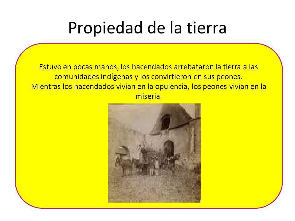 Propiedad de la tierra Estuvo en pocas manos, los hacendados arrebataron la tierra a las comunidades indígenas y los convirtieron en sus peones.