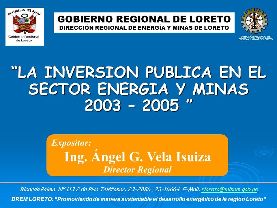 LA INVERSION PUBLICA EN EL SECTOR ENERGIA Y MINAS 2003 – 2005