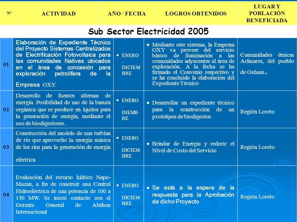 LUGAR Y POBLACIÓN BENEFICIADA Sub Sector Electricidad 2005