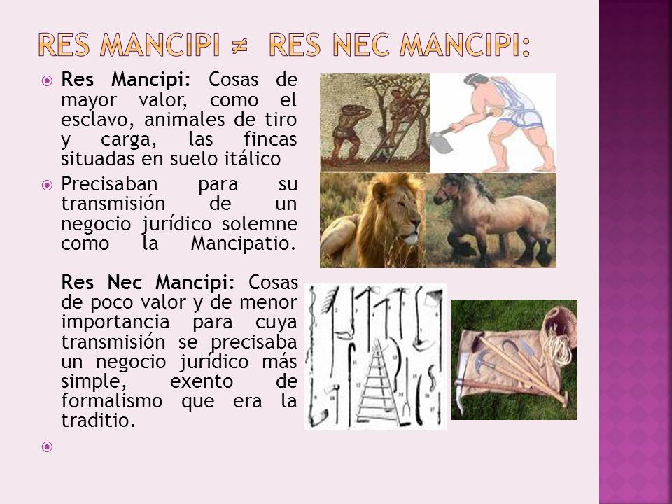 RES MANCIPI ≠ RES NEC MANCIPI: