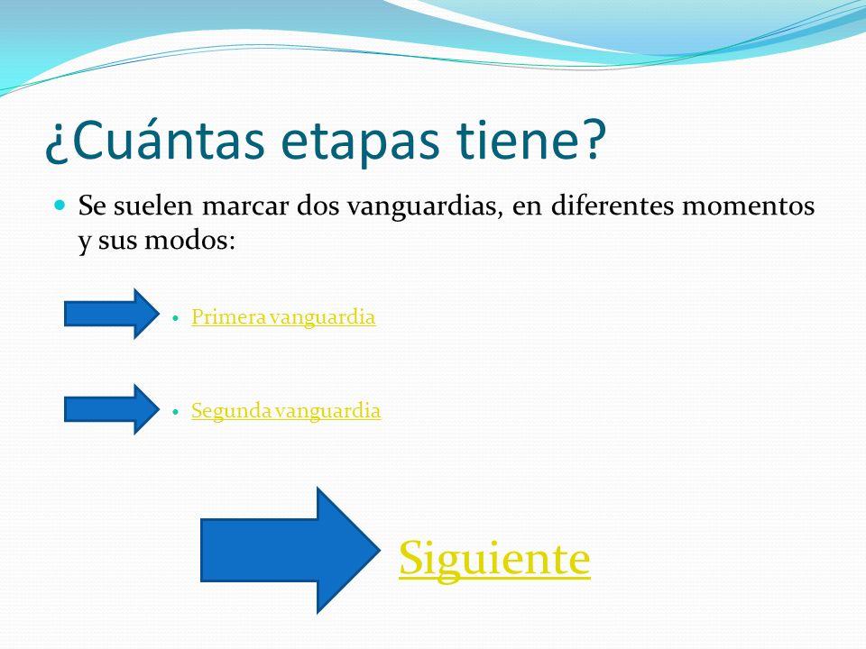 ¿Cuántas etapas tiene Se suelen marcar dos vanguardias, en diferentes momentos y sus modos: Primera vanguardia.