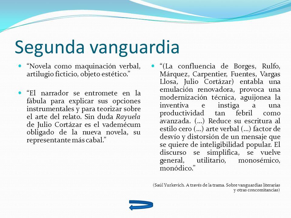 Segunda vanguardia Novela como maquinación verbal, artilugio ficticio, objeto estético.