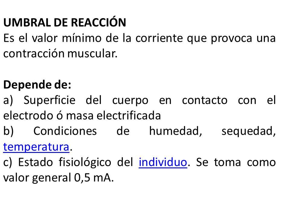 UMBRAL DE REACCIÓN Es el valor mínimo de la corriente que provoca una contracción muscular. Depende de: