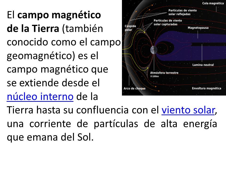 El campo magnético de la Tierra (también. conocido como el campo. geomagnético) es el. campo magnético que.