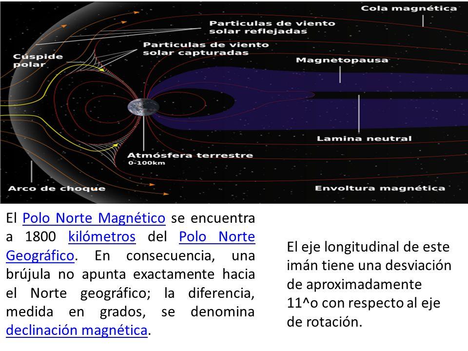 El Polo Norte Magnético se encuentra a 1800 kilómetros del Polo Norte Geográfico. En consecuencia, una brújula no apunta exactamente hacia el Norte geográfico; la diferencia, medida en grados, se denomina declinación magnética.