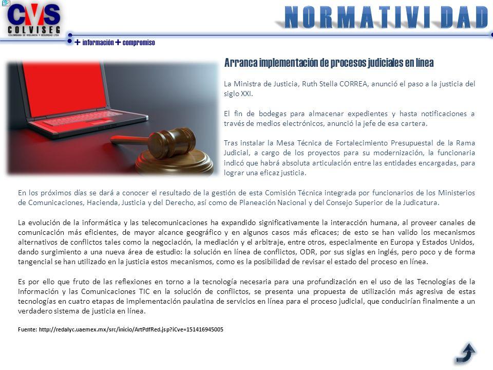 N O R M A T I V I d a d Arranca implementación de procesos judiciales en línea.