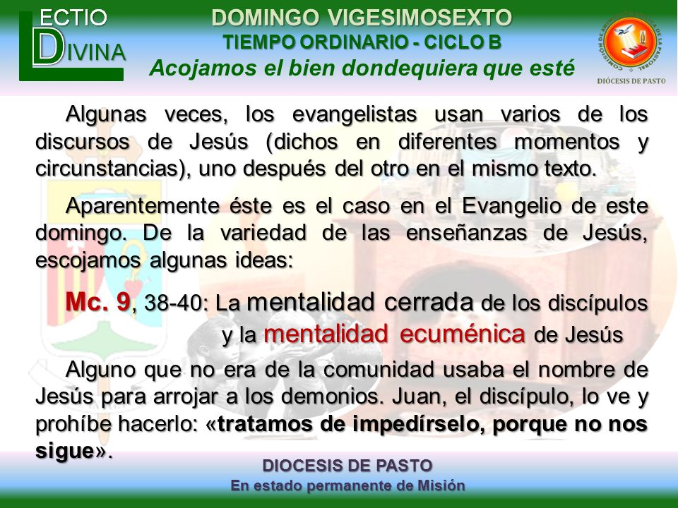 Algunas veces, los evangelistas usan varios de los discursos de Jesús (dichos en diferentes momentos y circunstancias), uno después del otro en el mismo texto.