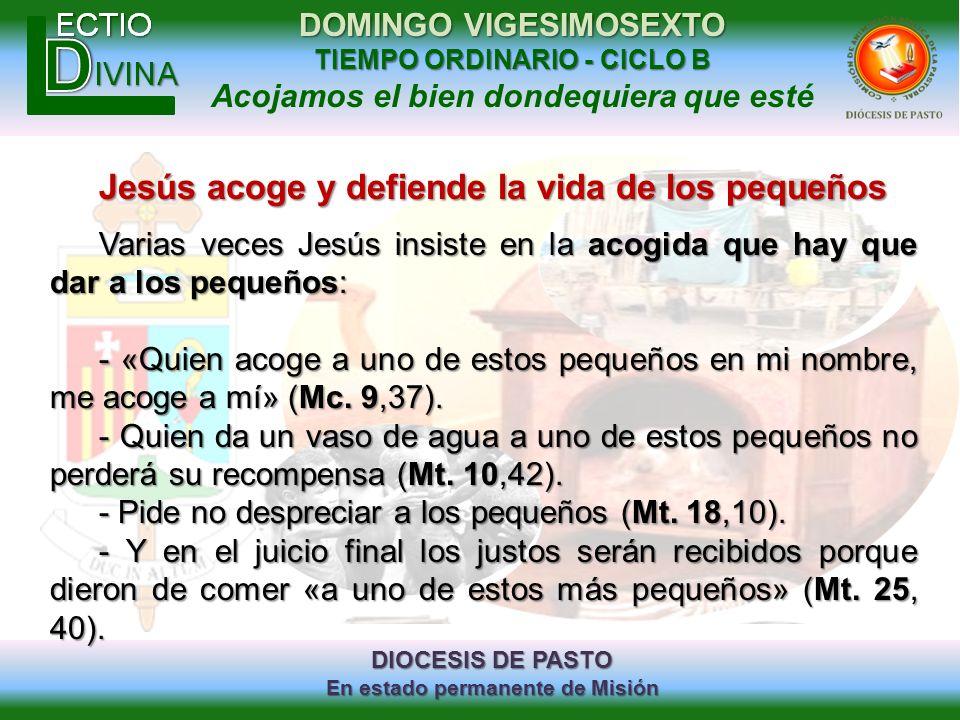 Jesús acoge y defiende la vida de los pequeños