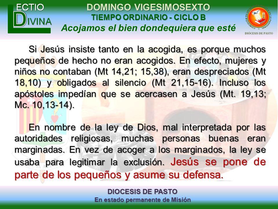 Si Jesús insiste tanto en la acogida, es porque muchos pequeños de hecho no eran acogidos. En efecto, mujeres y niños no contaban (Mt 14,21; 15,38), eran despreciados (Mt 18,10) y obligados al silencio (Mt 21,15-16). Incluso los apóstoles impedían que se acercasen a Jesús (Mt. 19,13; Mc. 10,13-14).